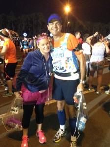 Rina and I arriving at the Half Marathon staging area.