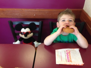 Asher 'earned' his treat after all his hard work during the 5K