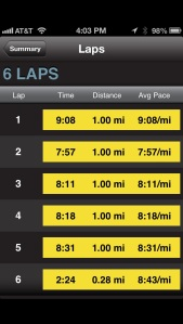 5 miles Tempo run - 5/30/13: 1 mile warm up - 2 miles at tempo with 800m recovery - 1 mile cool down