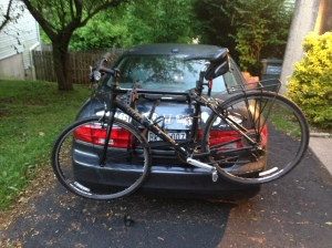 The bike rack is back on the car. It will be there for the summer now.