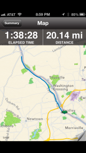 Ride route from Yardley to New Hope and back