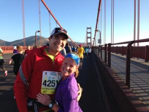 Running across the Golden Gate Bridge in San Francisco, CA