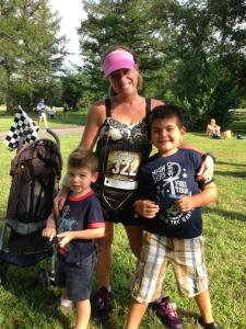 Shari with the boys before the start of the race