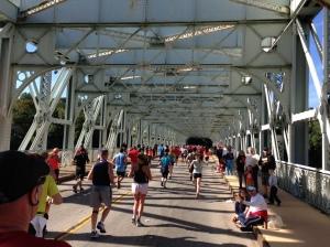 Making the turn at the Falls Bridge