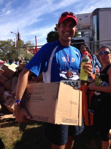 Our box of post race goodies. I refueled well.