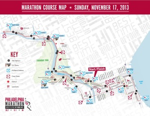 2013 Philadelphia Marathon Course Map
