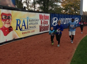 5 year old Anthony Russo running with his mother