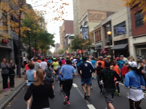 Running along Chestnut Street