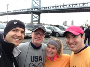 All of us pre-race with the Benjamin Franklin Bridge as our backdrop.