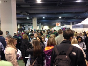 The scene at the Bib and Packet pickup area.