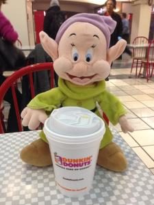 An early start. Dopey runs on Dunkin'