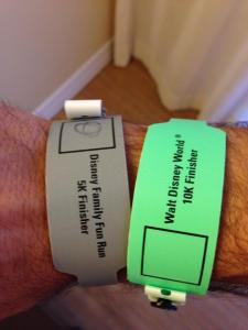 My 5K and 10K finisher wristbands.
