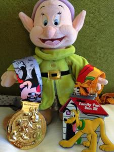 My medal haul after the 5K and 10K