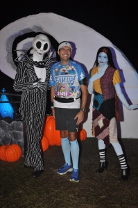 With Jack and Sally. Both my boys love 'The Nightmare Before Christmas'.