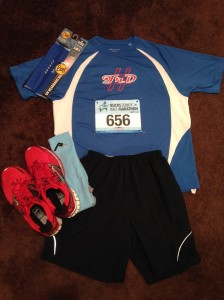 Race ready with my red shoes