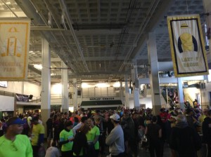 Race morning inside the pavilion. Bustling with Half and Full Marathoners.