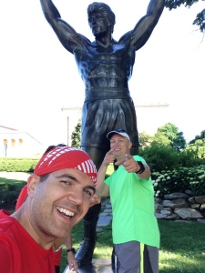 Representing the Mickey Milers at the Rocky statue
