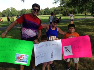 Sharing our signs with our favorite runner