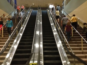 Heading out of the expo - the escalator wasn't working... a perfect stair workout before the marathon!!!