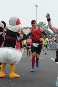 We were greated by Mickey and the gang at the finish line.
