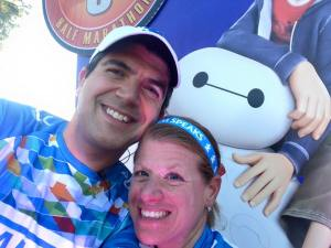 A quick selfie with the Baymax/Big Hero 6 mile marker (we knew our boys would appreciate this)