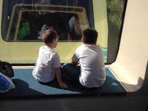 Riding the airport monorail is not as much fun