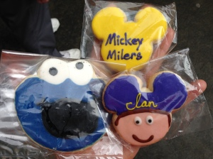 Jennifer's awesome gift. Customized Mickey Miler Cookies and a special Cookie Monster for you know who