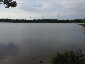 Swim course outlined by buoys