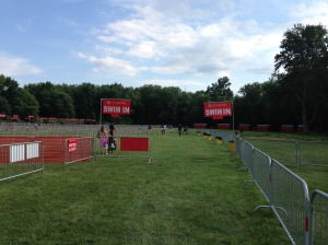 The transition area from the swim to the bike