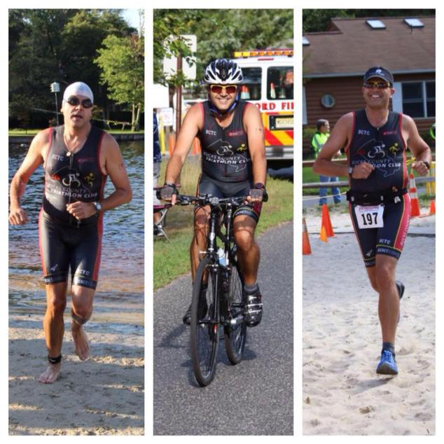 Competing in the Medford Lakes Colony Sprint Triathlon last August.