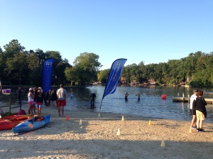The end of the swim and the transition area