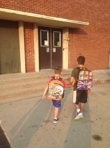 My two guys heading into school together