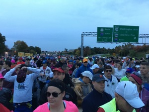 Very crowded start to the race