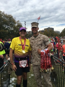 It was a great treat at the finish line to be presented the medal by a Marine.