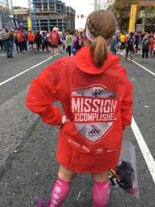 "That's a fancy little jacket to keep you warm post race. ""Mission Accomplished"" is right."