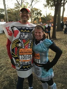 Our costume choice - Alice in Wonderland and the King of Hearts