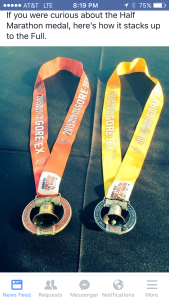 The Full and Half Marathon medals side by side.