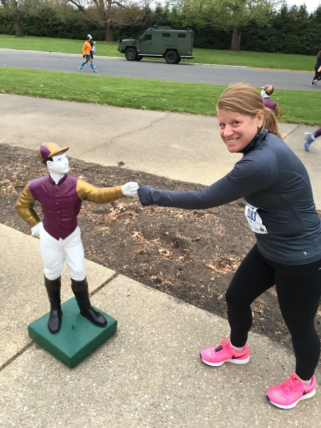 A jockey fist bump for good luck!!!
