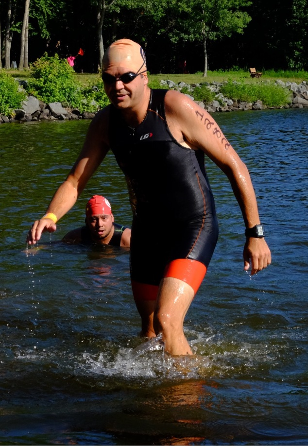 Made it, although my swim cap looks like I resemble Dr Evil or Kojak