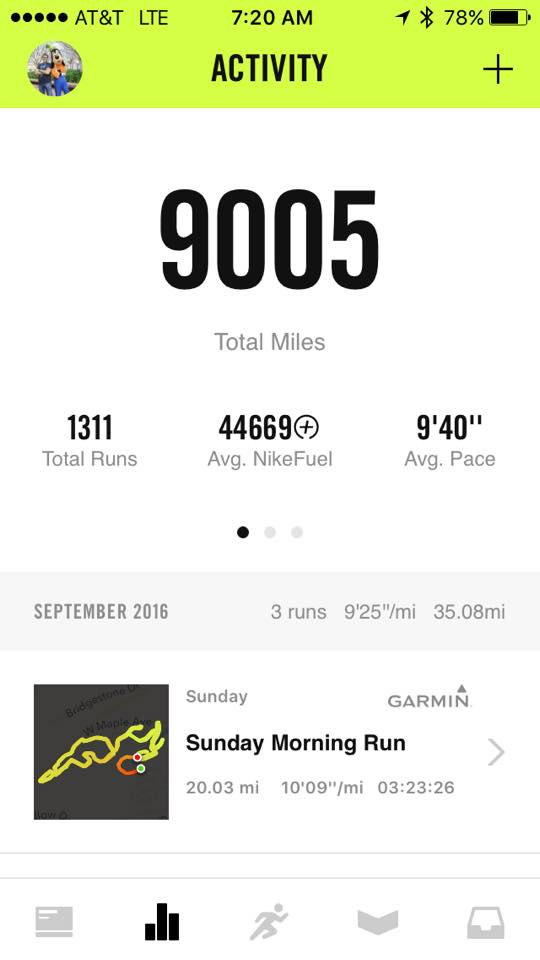 I ran my 9,000th mile in early September.