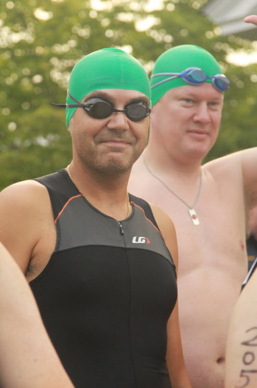 Looking a little awkward in my green swim cap