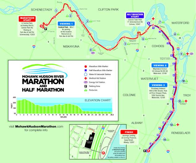 The race was a point to point race from Schenectady to Albany. The Half marathon followed the same route from the mid point of the course.