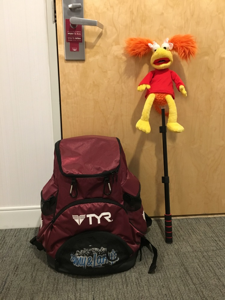 My large backpack fully loaded and my 'Fraggle on a stick'